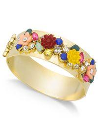 INC International Concepts - Metallic I.n.c. Gold-tone Flower Motif Hinged Bangle Bracelet, Created For Macy's - Lyst