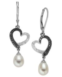 Macy's - Sterling Silver Earrings, Cultured Freshwater Pearl (6mm) And Black And White Diamond (1/3 Ct. T.w.) Heart Drop Earrings - Lyst