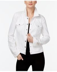 INC International Concepts - White Crochet-inset Denim Jacket - Lyst