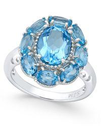 Macy's - Swiss Blue Topaz Flower Ring (5 Ct. T.w.) In Sterling Silver - Lyst