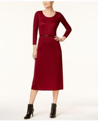 CALVIN KLEIN 205W39NYC - Red Belted Sparkle Ribbed Midi Sweater Dress - Lyst
