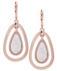 Anne Klein - Multicolor Rose Gold-tone Pink Stone Orbital Drop Earrings - Lyst