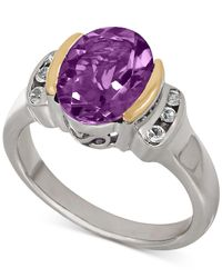 Macy's - Purple Amethyst (2-3/8 Ct. T.w.) And White Topaz (1/10 Ct. T.w.) Two-tone Ring In Sterling Silver With 14k Gold Accents - Lyst