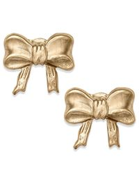 Macy's | Metallic 10k Gold Earrings, Bow Stud Earrings | Lyst
