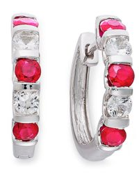 Macy's - Metallic Sterling Silver Earrings, Ruby (1-3/8 Ct. T.w.) And White Sapphire (9/10 Ct. T.w.) Hoop Earrings - Lyst