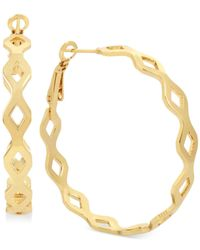 Hint Of Gold - Metallic Openwork Hoop Earrings Gold-plate - Lyst