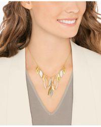 Swarovski - Metallic Gold-tone Pavé Leaf Statement Necklace - Lyst
