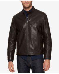 Andrew Marc - Brown Men's Leather Moto Jacket for Men - Lyst