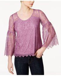 Kensie | Purple Lace Lantern-sleeve Top | Lyst