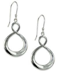 Giani Bernini | Metallic Wisted Drop Hoop Earrings In Sterling Silver | Lyst