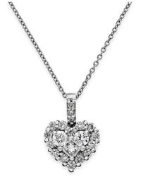 Effy Collection - Diamond Heart Pendant Necklace In 14k White Gold (5/8 Ct. T.w.) - Lyst