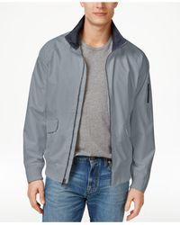 Izod | Gray Rib Knit Bomber Jacket for Men | Lyst