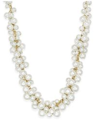 Charter Club - Metallic Gold-tone Imitation Pearl Cluster Necklace - Lyst