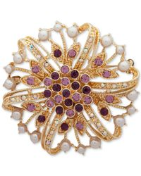 Anne Klein - Metallic Gold-tone Multi-stone & Imitation Pearl Flower Pin, Created For Macy's - Lyst