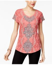 Style & Co. - Multicolor Printed High-low Top - Lyst