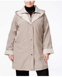 Jones New York - Natural Plus Size Wing-collar Raincoat - Lyst