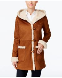 Jones New York - Brown Hooded Faux-shearling Toggle Coat - Lyst