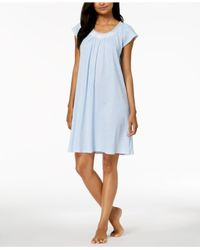 Miss Elaine - Blue Embroidered-rose Knit Nightgown - Lyst