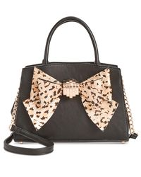 Betsey Johnson | Black Medium Satchel With Removable Bow | Lyst