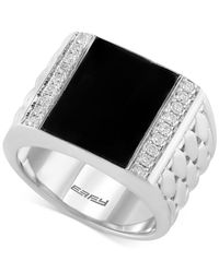 Effy Collection - Black Men's Onyx (4-9/10 Ct. T.w.) And Diamond (3/10 Ct. T.w.) Woven Ring In Sterling Silver for Men - Lyst