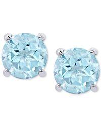 Macy's - Metallic Blue Topaz Stud Earrings (2 Ct. T.w.) In Sterling Silver - Lyst