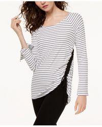 INC International Concepts - White Striped Drawstring Top - Lyst
