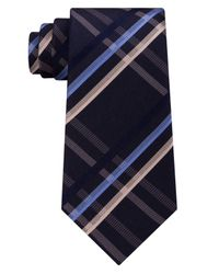 Kenneth Cole Reaction - Blue Men's Grid Silk Tie for Men - Lyst
