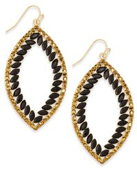 INC International Concepts - Black Gold-tone Pavé & Jet Stones Open Drop Earrings - Lyst