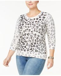 7c8e0ccf62c INC International Concepts. Women s White Plus Size Sequined Animal-print  Sweater