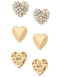Michael Kors - Metallic Gold-tone 3-pc. Set Pavé Heart Stud Earrings - Lyst