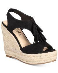 Callisto | Black Edith Espadrille Platform Wedge Sandals | Lyst