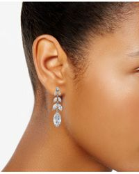 Charter Club - Metallic Silver-tone Crystal Drop Earrings - Lyst