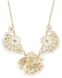 Kate Spade | Metallic Gold-tone Crystal Flower Statement Necklace | Lyst