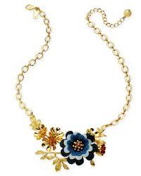 "Kate Spade - Blue Gold-tone Denim Flower Statement Necklace, 17"" + 3"" Extender - Lyst"