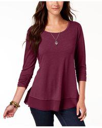 Style & Co. - Purple Petite Chiffon-hem Top, Created For Macy's - Lyst