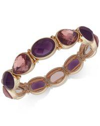 Nine West - Metallic Gold-tone Purple Stone Stretch Bracelet - Lyst