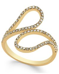 INC International Concepts - Metallic Gold-tone Pavé Crystal Bypass Ring - Lyst
