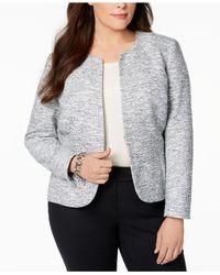 Anne Klein - Gray Plus Size Collarless Tweed Blazer - Lyst