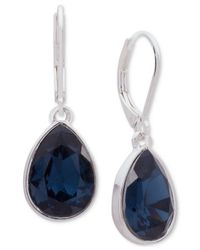 Nine West - Silver-tone Blue Stone Drop Earrings - Lyst