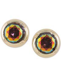 ABS By Allen Schwartz - Metallic Gold-tone Multicolor Stone Stud Earrings - Lyst