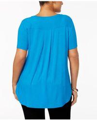 Alfani - Blue Plus Size High-low Tee - Lyst
