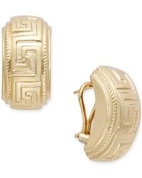 Macy's - Metallic Greek Key Clip-on Earrings In 14k Gold - Lyst