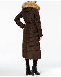 Jones New York - Brown Faux-fur-trim Down Maxi Coat - Lyst