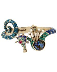 Betsey Johnson | Blue Gold-tone Multi-stone Seahorse Hinged Bangle Bracelet | Lyst