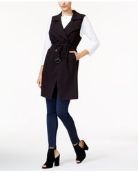 Kensie | Black Belted Double-breasted Vest | Lyst