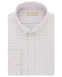 Michael Kors - Multicolor Classic/regular Fit Non-iron Pink Check Dress Shirt for Men - Lyst