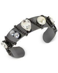 INC International Concepts - Black Crystal Chain Cuff Bracelet - Lyst