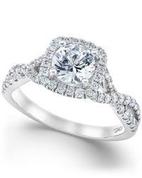 X3 - Certified Diamond Twist Shank Ring In 18k White Gold (1-1/2 Ct. T.w.) - Lyst