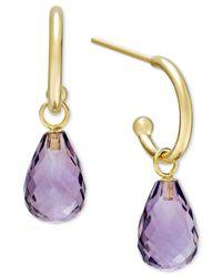 Macy's - Metallic Amethyst Hoop Earrings In 14k Gold (6-1/2 Ct. T.w.) - Lyst