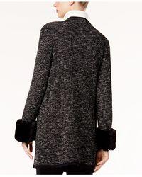 Alfani - Black Faux-fur-cuff Sweater Coat - Lyst